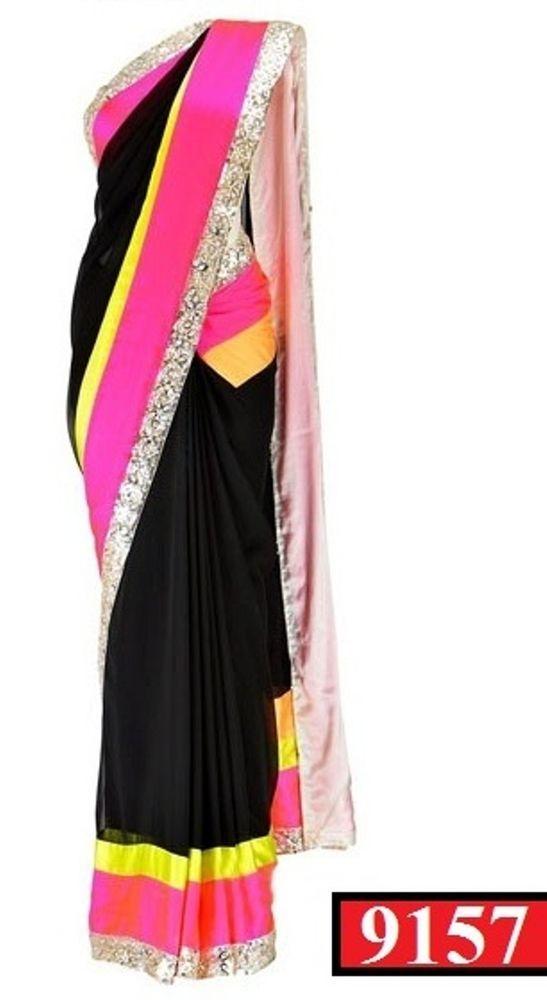 SareeStudio Black Embroidery Party Wear Georgette Bollywood Sari #SareeStudio #BollywoodDesignerSareeSari #PartyWear
