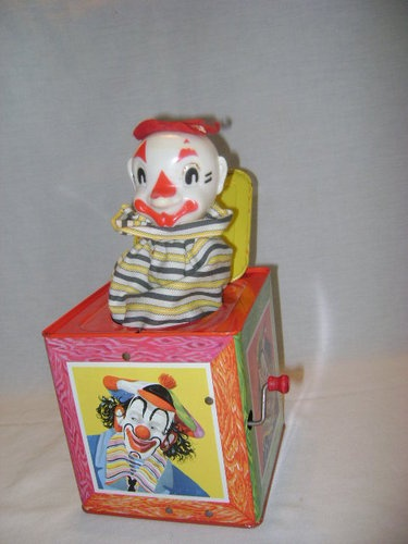 Toys From 1953 : Vintage c  mattel toy makers tin clown litho jack