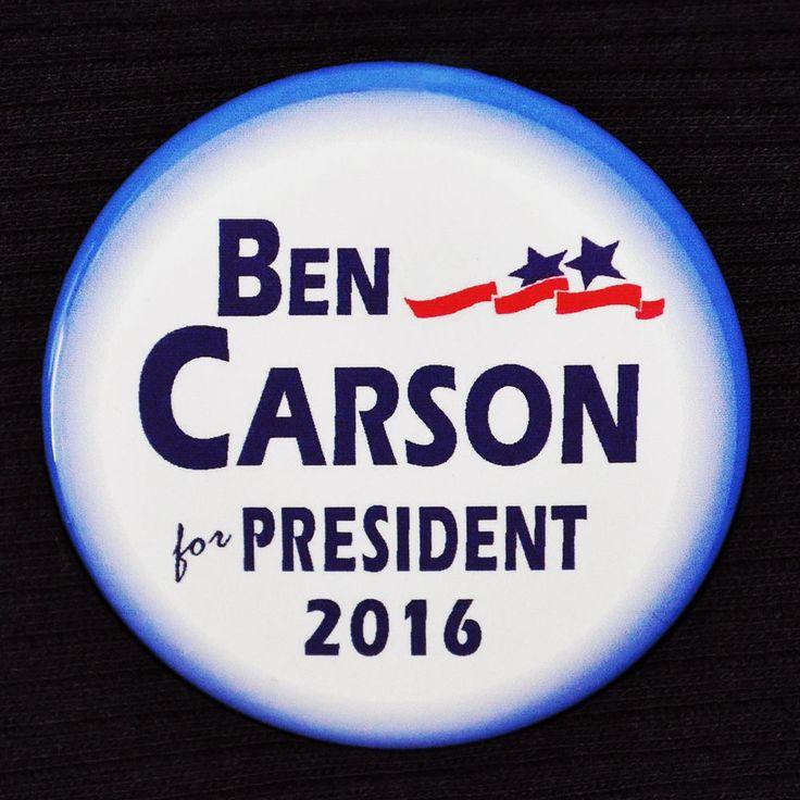 Ben Carson for President 2016 Button Pin GOP Republican Dr. Ben Carson