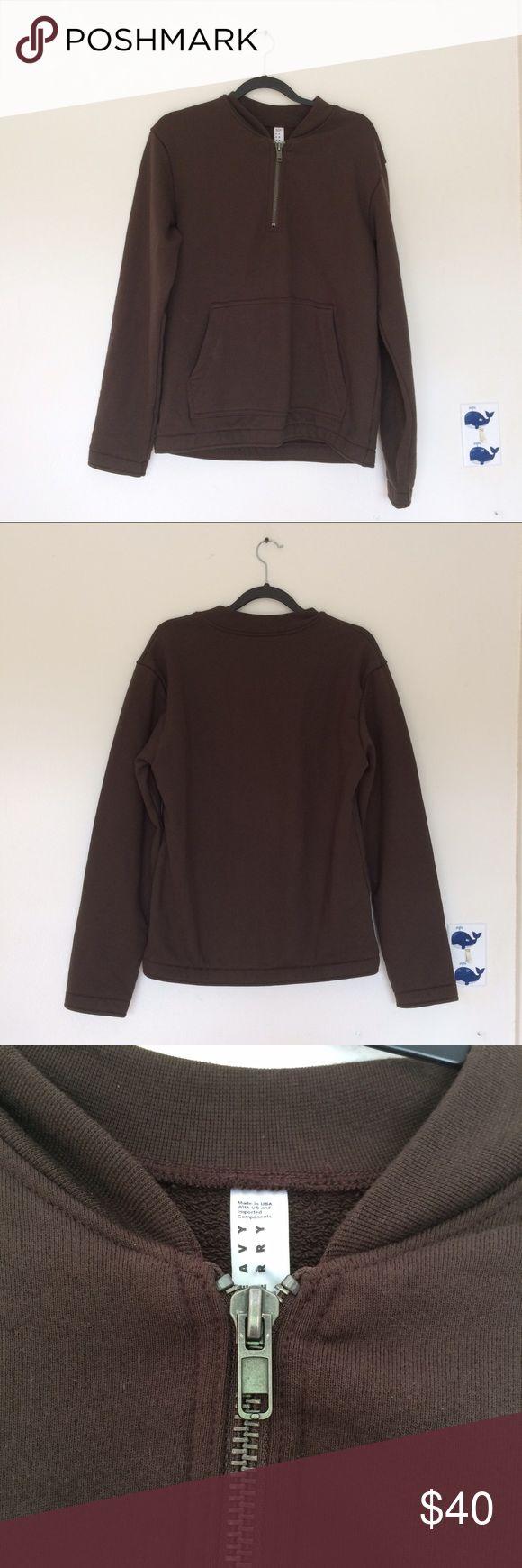 American Apparel Heavy Terry Half Zip Pullover Unisex/men's Medium Dark brown - Molasses Cotton blend pullover with zipper at neckline Kangaroo pockets American Apparel Jackets & Coats