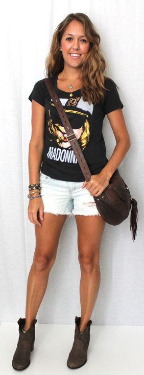 Black Rocker Tee + Distressed Cutoffs + Leather Messenger Bag + Flat Ankle Boots + Stacked Bracelets