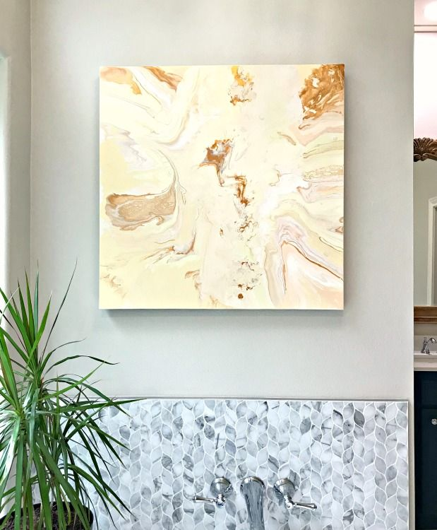 Paint Over An Old Canvas With Diy Acrylic Pour Art Abbotts At Home Diy Art Projects Canvas Resin Wall Art Painting