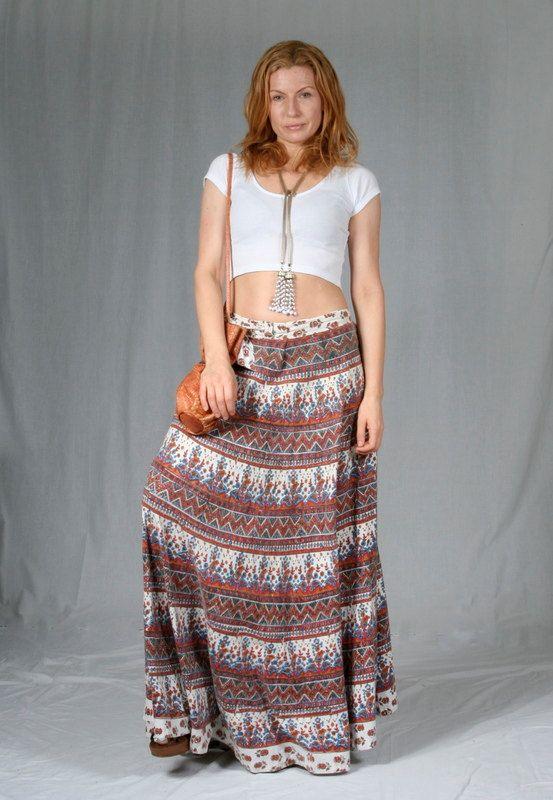 Original 1970's Boho, maxi wrap skirt, with hand blocked block print on white background.
