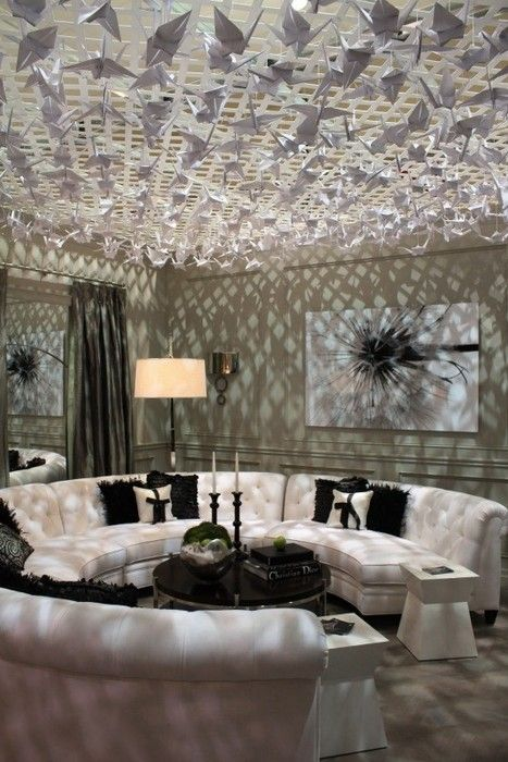 21 Interior Designs With Fluorescent Light Covers Interiorforlife.com 1000  Paper Cranes Handing From The