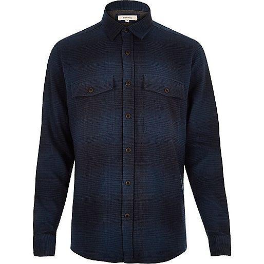 Navy check soft flannel shirt - check shirts - shirts - men
