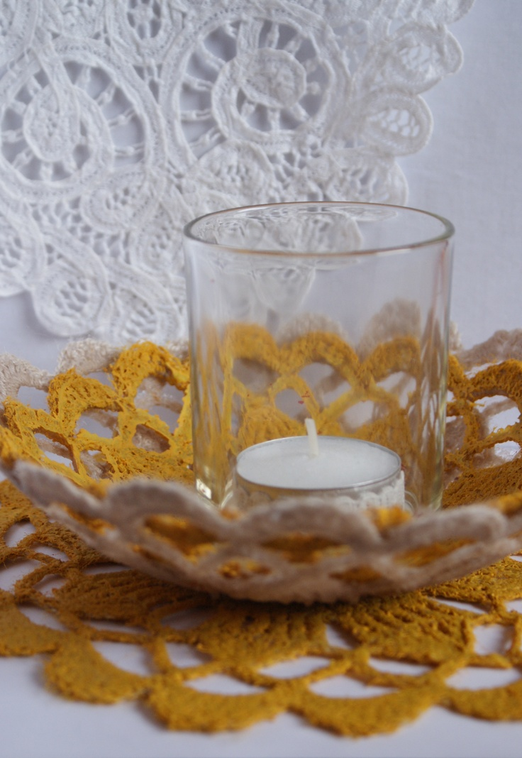 3 crochet doilies from thriftshop stiffened with modpodge and painted. #modpodge #doilie #mustard #candle