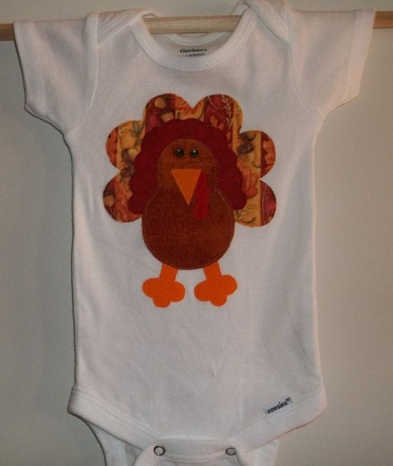 Thanksgiving Turkey Applique Bodysuit by wreathsNmorebyTerry, $8.00