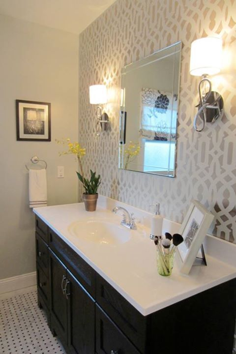 The Trellis Stencil from Cutting Edge Stencils was used in the bathroom  makeover on HGTV s Power Broker  like this for the bathroom wall. Best 25  Bathroom accents ideas on Pinterest   Decorative bathroom