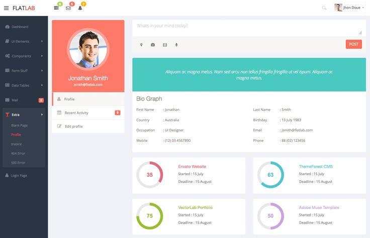 Profile view from Flat Lab responsive admin dashboard and frontend.  Live Preview : http://themeforest.net/item/flatlab-flat-responsive-admin-template/5902687