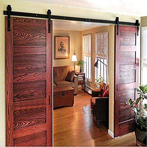 Zzz Vancleef 8FT Double Door Kit Sliding Barn Door Hardware Classic Design Industrial Strength Black Rustic Interior and Exterior Use With Quiet Glide Roller and Descriptive Installation Manual