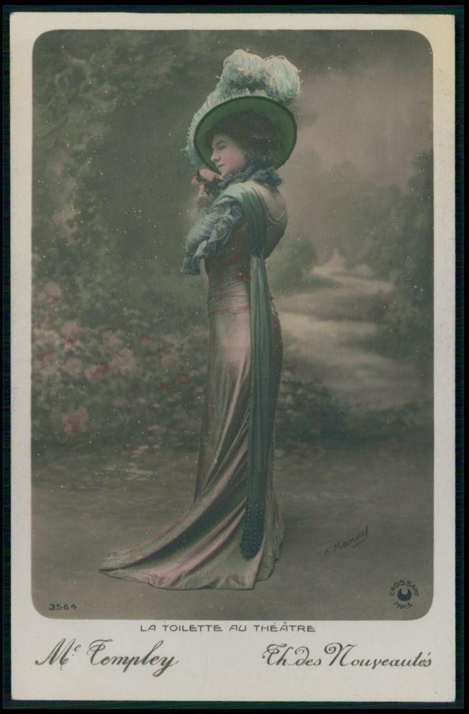 Templey Lady Nouveautes Edwardian Theatre Fashion dress 1910s photo postcard