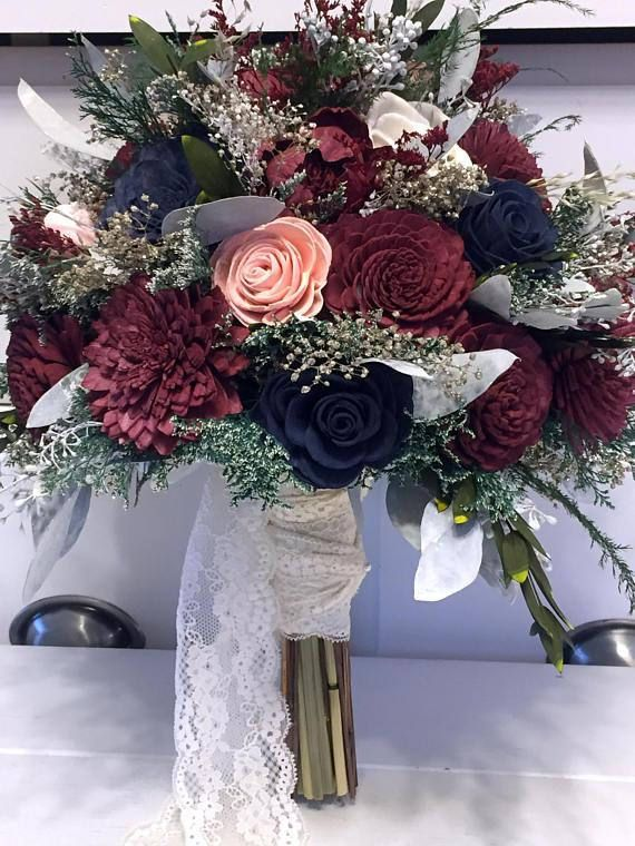 Burgundy Pink Navy Wedding Bouquet Made With Sola Flowers