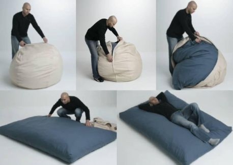 Bed Unfolds Out Of A Bean Bag Seating And Guest