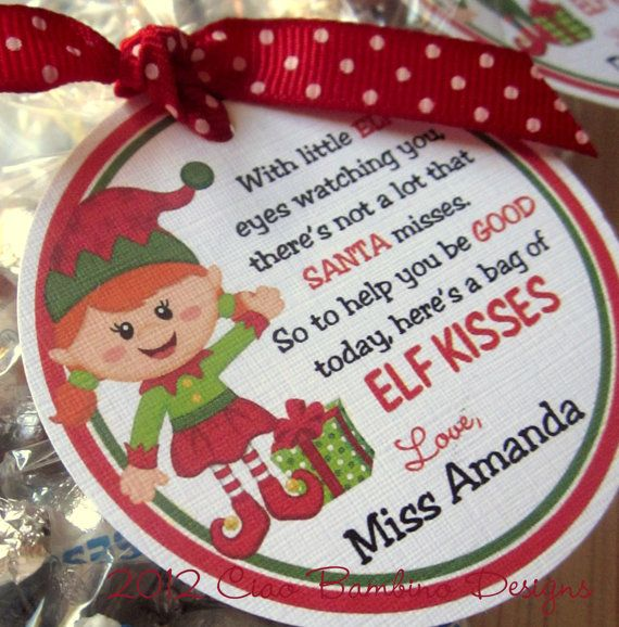 Elf Kisses Holiday Favor Tags- Choose Boy or Girl Elf- These are ...