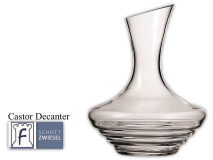 Castor Decanter  1 L 33.8(oz) 11.0(H) 9.0(W)  Tritan crystal glass: non-lead material of titanium and zirconium oxide; resists breakage, chipping, scratching; thermal shock resistant; patented Red wine aerates as it flows down the sides in a beautiful pattern;  DISHWASHER SAFE will not etch, cloud or discolor for the life of the glass Made in Germany Product Code 0019.105229 SHIPPING IN CANADA ONLY!