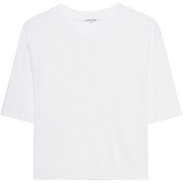 Cotton Citizen The Tokyo Crop White // Cropped cotton t-shirt (6.905 RUB) ❤ liked on Polyvore featuring tops, t-shirts, long sleeve t shirts, white crop top, crop t shirt, white cotton t shirts and long-sleeve crop tops