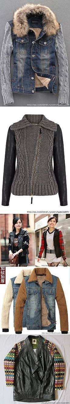 Ideas alteration of leather and denim jackets knitting +