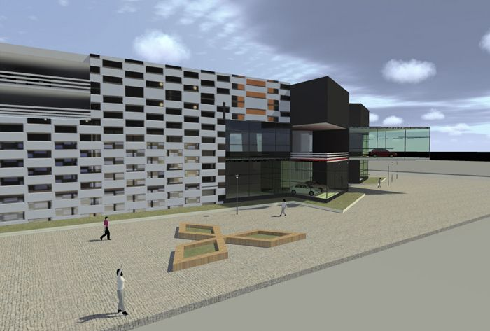 The construction has also a public surface parking which offers 420 slots.