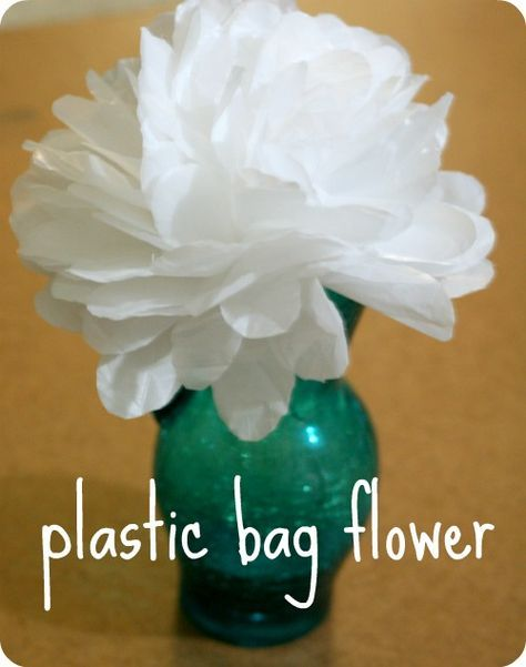 Recycled plastic bag flower tutorial. This is an idea that we may try for a homework assignment. We need to create something out of reused materials for Earth Day.