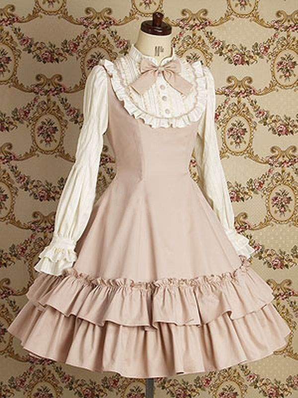 Blue Long Sleeves Lace Cotton Lolita Dress Lolita Clothing Pink