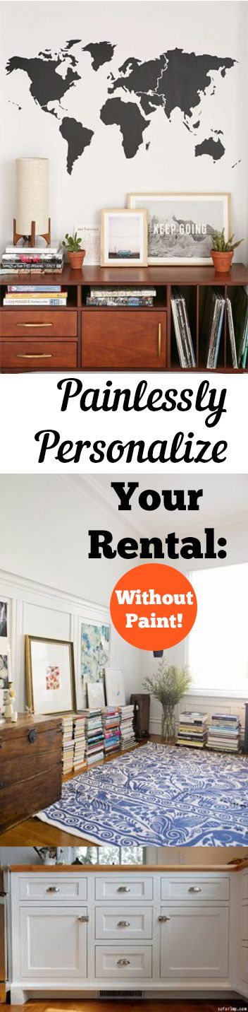 Painlessly Personalize Your Rental Without Paint! Renter Friendly Decor, DIY Home, Home Decor, Home Decor Ideas, How to Decorate Your Rental, Decorating Your Rental, Easy Ways to Decorate an Apartment, How to Decorate An Apartment, Apartment Decorating Tips and Tricks, Popular DIY Pin