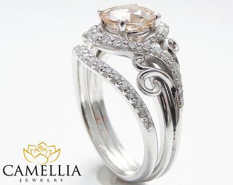 14K White Gold Moissanite Rings Moissanite by CamelliaJewelry