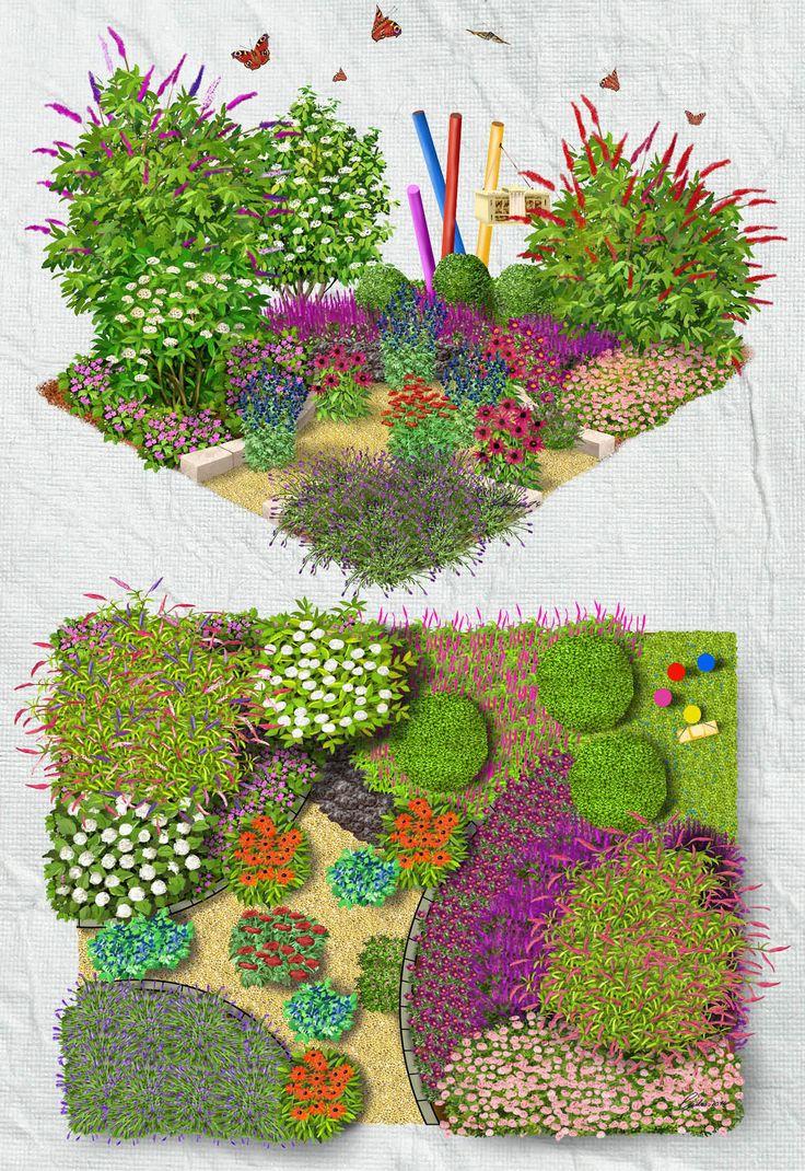 Insekten- & Schmetterlingsgarten: Der Insekten- und Schmetterlingsgarten ist ein Paradies für Genießer, die sich an reich blühenden und duftenden Gehölzen erfreuen und gerne die Tierwelt zu beobachten. Der insektenverführende Lavendel garantiert neben Blutrotem Storchschnabel, Purpur-Sonnenhut und Eisenhut an sonnigen Tagen den Besuch zahlreicher Schmetterlinge, Hummeln, Bienen und Co. Die mittig platzierte Schafgarbe zählt zu den wichtigsten Trachtpflanzen für Honigbienen.