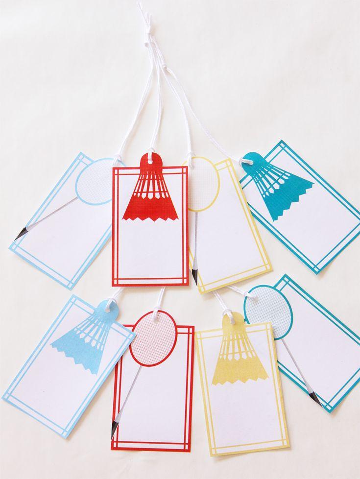 Badminton DIY Party Printable Kit, Food / Favour Tags   Creative Sense Co