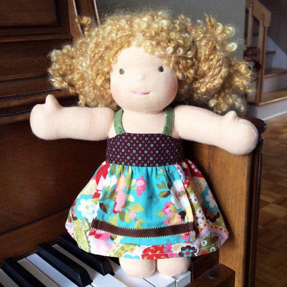 Waldorf doll dress m2m Matilda Jane Front Porch Ellie - Pictured on a Bamboletta 10 inch Little Buddy doll – Robe poupée waldorf 9 à 11 po, fait main - #waldorfdoll #handmade #etsyseller #dollfashion #m2mmatildajane #madeincanada #mylittlepoppyseed https://www.facebook.com/MyLittlePoppySeedCreations  https://www.etsy.com/ca/shop/mylittlepoppyseed