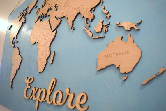Wood World Map Cut Out.Wooden World Map Design File For Laser Cut Or Cnc Instant Download