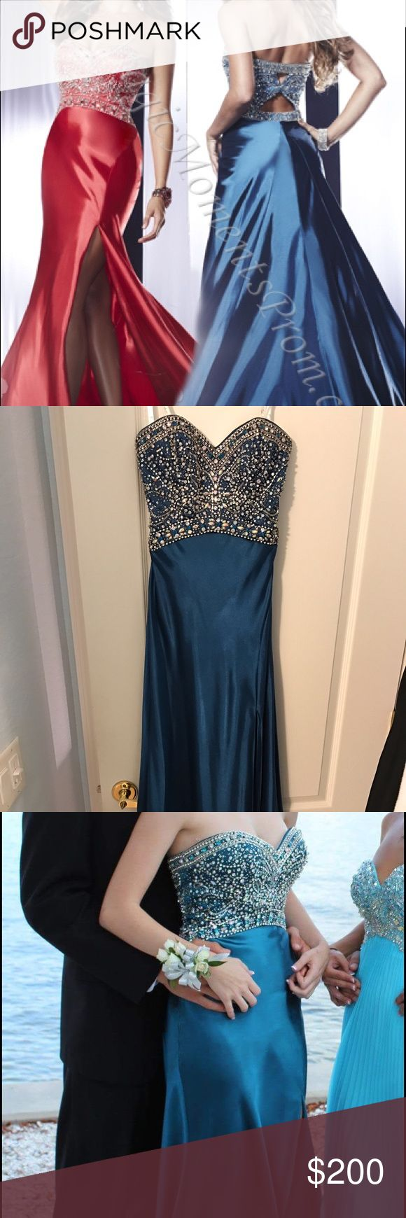 Panoply prom dress in blue Panoply prom dress style 14556. Small cutouts in the back. Slit on the left side. Hidden side zipper. Purchased from CC's Boutique. Worn once. No damages, stains, or missing beads. Excellent condition. Panoply Dresses Prom
