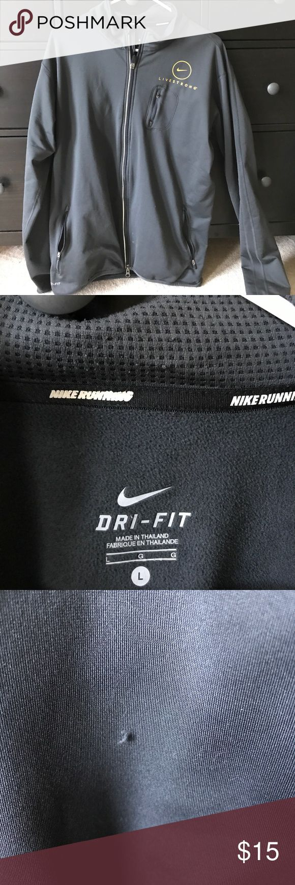 Running Jacket Nike Dri-Fit running jacket. Livestrong branded with one slight snag (shown in last picture) Nike Jackets & Coats Lightweight & Shirt Jackets
