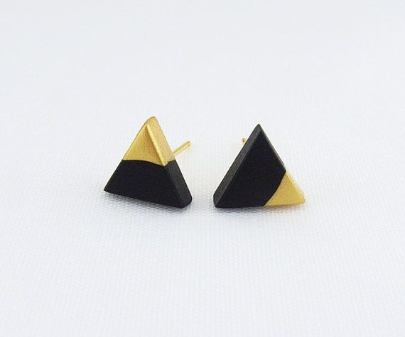 Thank you for visiting and viewing.  Please read all item description carefully before purchase.    Black - Gold Dipped Triangle Stud Earrings