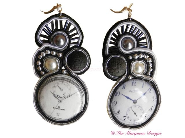 Silver Clocks  #TheMarquessDesign    Soutache in black and white with clock faces.  Available thro' the blog