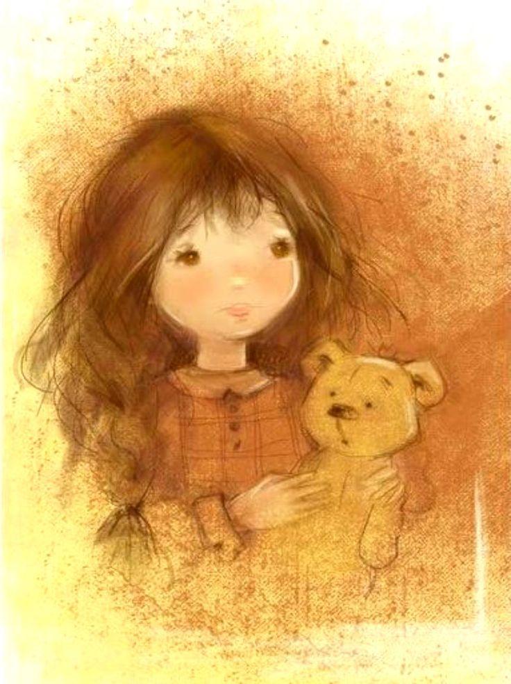 Открытка бабок девочка с медведем