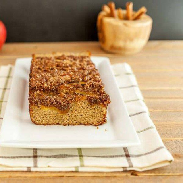"""<p>French Apple Pie Bread has the taste of French apple pie but without all the carbs and the work. A low-carb spice bread with an apple and cinnamon crumble topping.</p> <p>Get the recipe here:<a href=""""https://beautyandthefoodie.com/french-apple-pie-bread/"""">French Apple Pie Bread</a></p>"""