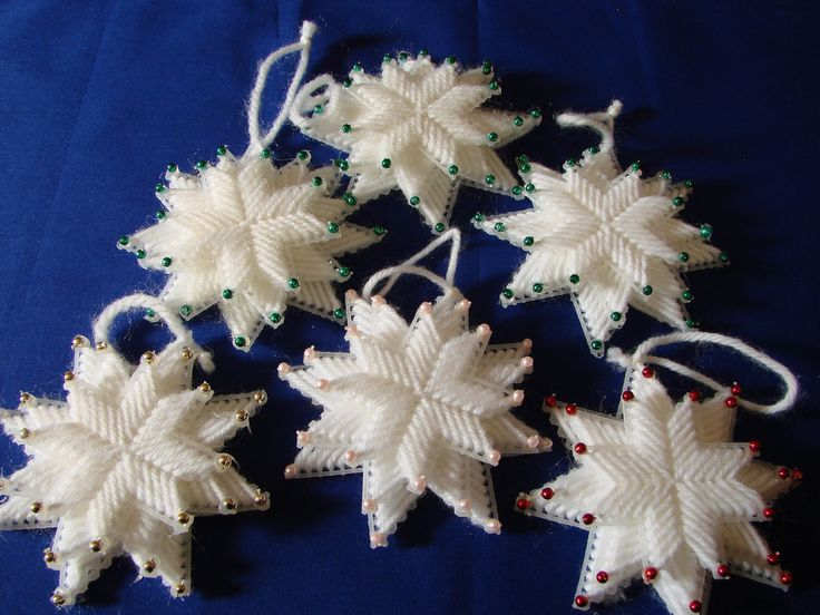 Holiday Tree Ornament -- Plastic Canvas Snowflakes with coloured beads. $2.00, via Etsy.