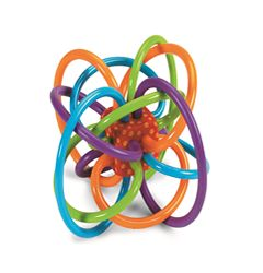 This mesmerizing maze of safe, soft, continuous tubes is perfect for a teething baby to chew on Safe, teethable plastic loops are BPA free Visually appealing to babies, it also promotes clutching and two-handed play,and the middle piece contains a pleasing rattle sound 4.5-Inch in diameter, for ages 0-24 months Oppenheim Toy Portfolio Gold Seal Award 2013