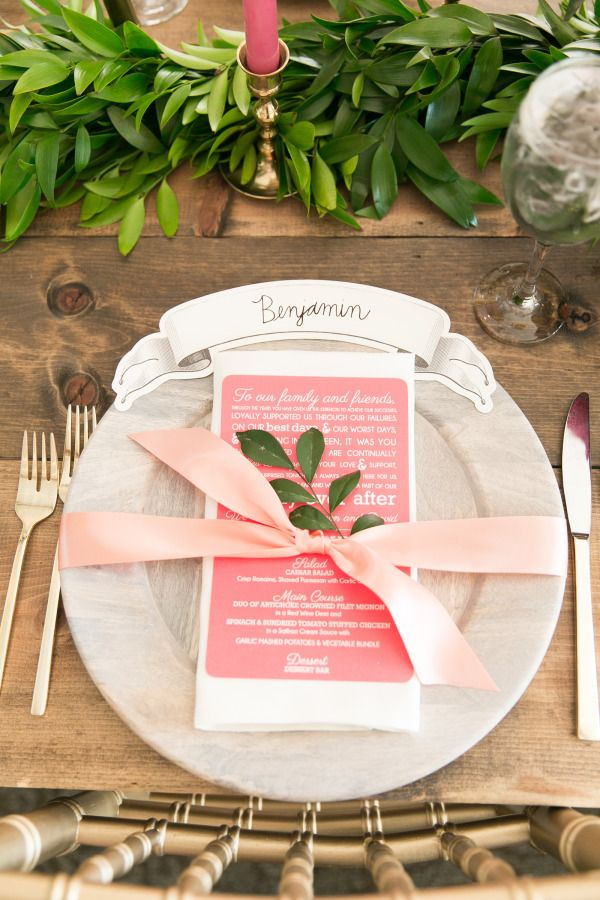 Chic & pink table setting: http://www.stylemepretty.com/florida-weddings/winter-park-fl/2015/08/12/bright-whimsical-winter-park-wedding/ | Photography: Amalie Orrange - http://amalieorrangephotography.com/