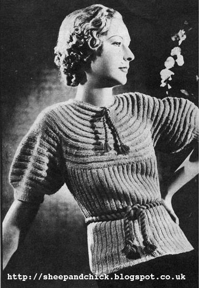 The Vintage Pattern Files: 1930's Knitting - Gaily Continental Yoked Jumper
