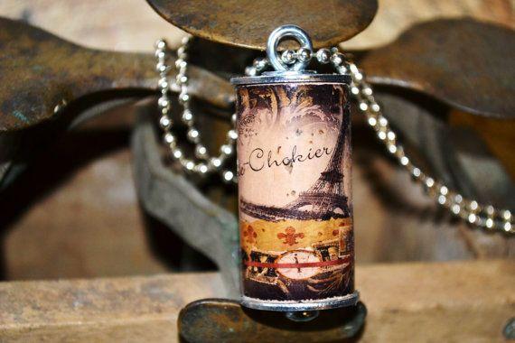 OOAK Wine Cork PARIS Chateau de Chokier EIFFEL by JanealsJunque, $15.00