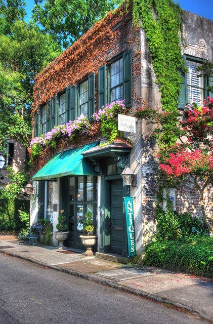 Quaint #shopfront: Antique shop in historic àCharleston South Carolina. #USA #storefront