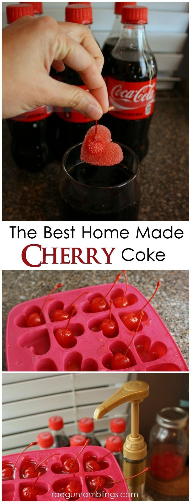 Cherry Ice Cubes (hearts) + Cherry Coke How To:...... Cherry Syrup (Torani or Maraschino Syrup), Maraschino Cherries, Coke, Ice Cube Tray.... Place a cherry in each ice cube slot. Add one pump of cherry syrup to each cube spot. Top with water. Freeze until solid. When you are ready to serve pop a couple into a glass of Coke and enjoy. I only had a heart ice cube tray which I thought made it extra cute.