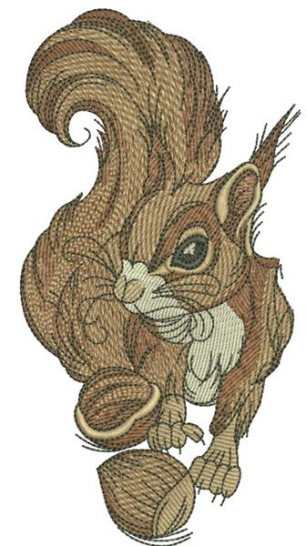 Squirrel With Hazelnut 3 Embroidery Design Machine Embroidery