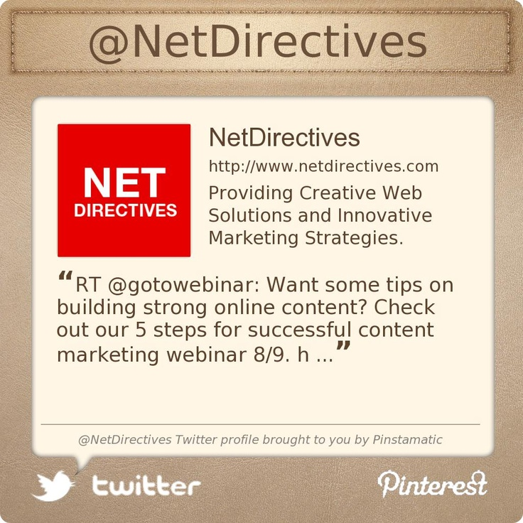 @NetDirectives's Twitter profile Creative Web Solutions and Innovative Marketing Strategies