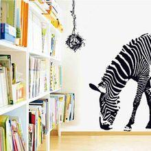 Délicat énorme noir Zebra animaux nid d'oiseau amovible imprimer Art Mural Sticker Mural 60 * 90 cm(China (Mainland))