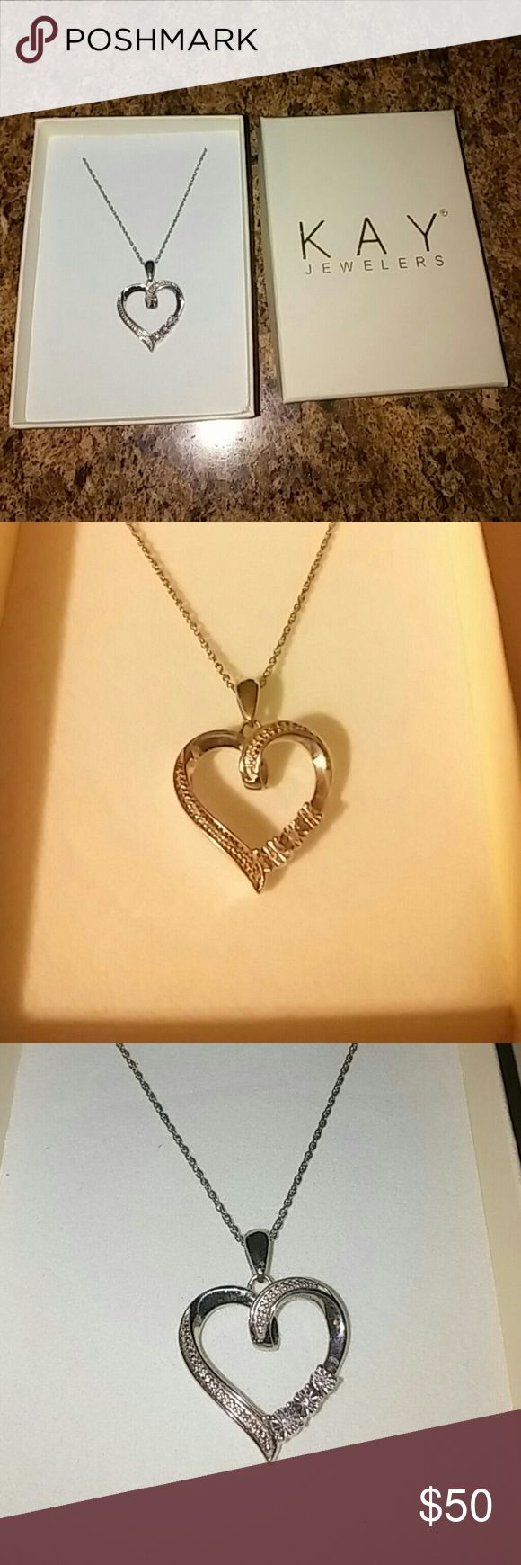 Kay jeweler diamond necklace Silver and diamond heart necklace from kay jewelers Jewelry Necklaces