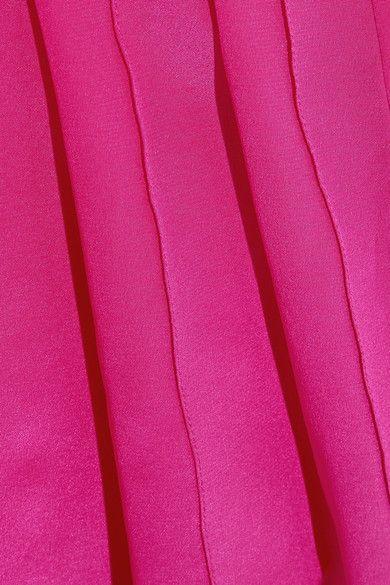 Oscar de la Renta - Pleated Silk-satin Peplum Blouse - Fuchsia - US12