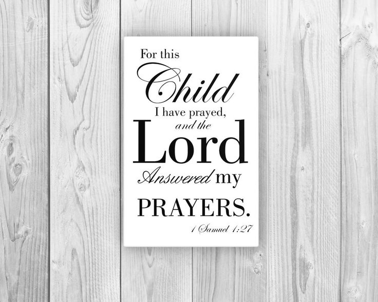 Scripture Print on Canvas - 1 Samuel 1:27 Looking for unique bible verse art prints on canvas for the nursery? Need a baby shower gift that's more personal than burp cloths and diaper cakes? Here's th