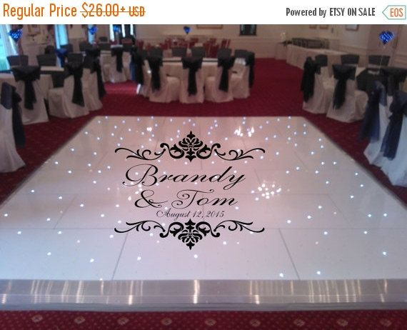 Huge damask theme dance floor decal wedding day fancy calligraphy font dance floor personalized names vinyl lettering 39 colors